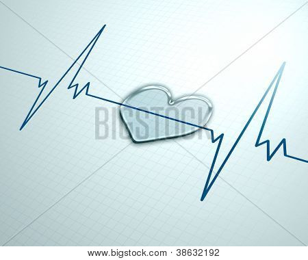 A medical background with a heart beat / pulse with a heart rate monitor symbol