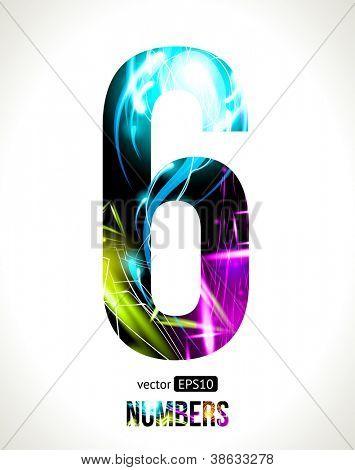 Vector design light effect alphabet. Easy customizable. Number 6.