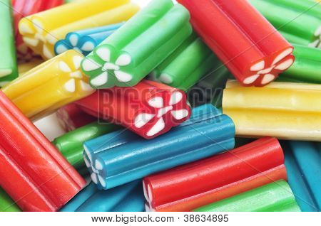 closeup of a pile of liquorice candies of different colors
