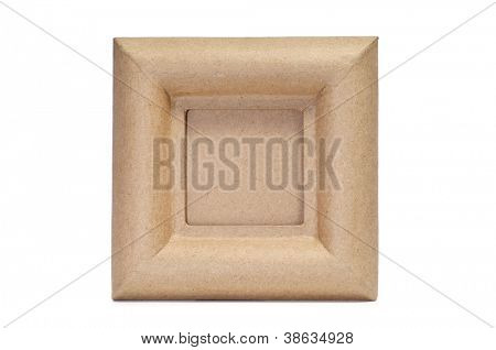 a square paper-mache frame with a blank space on a white background