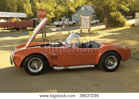 WEST POINT, CA - OCTOBER 6: AC Cobra at the antique vehicle and hot rod car rally at the 38th Lumberjack day parade, on October 6, 2012 in West Point.