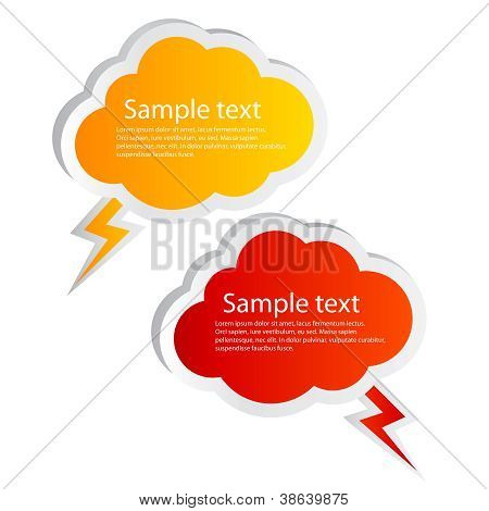 Vector cloud shaped speech bubbles