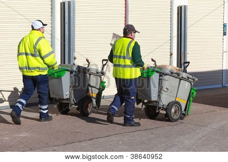 BRIGHTON, UK - FEBRUARY 8, 2011: Street cleaners on seafront on February 8, 2011 in Brighton, UK. Brighton & Hove have over 650 miles of pavement.