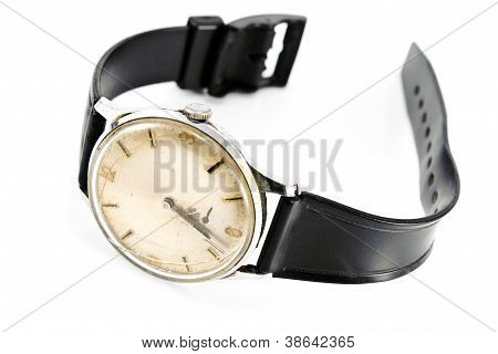 Old Broken Wristwatch With Black Strap