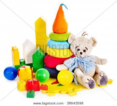 Children toys with teddy bear and ball. Isolated.