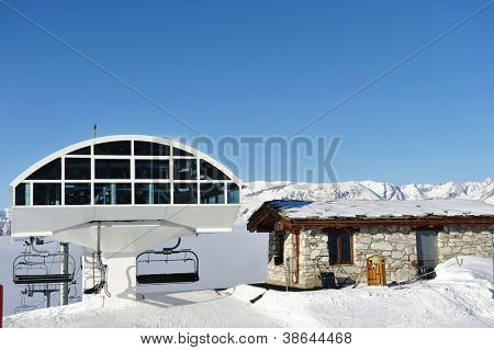 Ski lift station in mountains at winter, Val-d'Isere, Alps, France