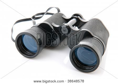 Black binoculars isolated over white background