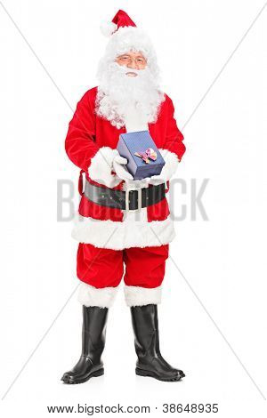 Full length portrait of a happy Santa Claus with a giftbox in his hands isolated on white background