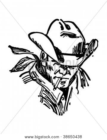 Rugged Cowboy - Retro Clipart Illustration