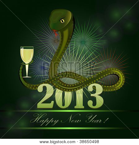 New 2013 year'??s card with cartoon snake holding glass of champagne.