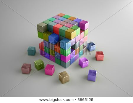 Crumbling Colorful Cubes