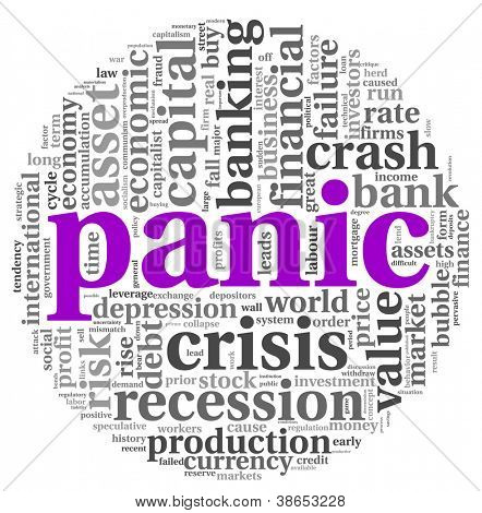 Panic and crisis concept in tag cloud  graphics on white background