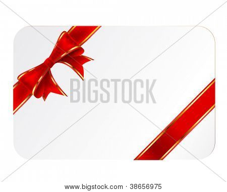 Card with ribbon isolated on white background. Vector.