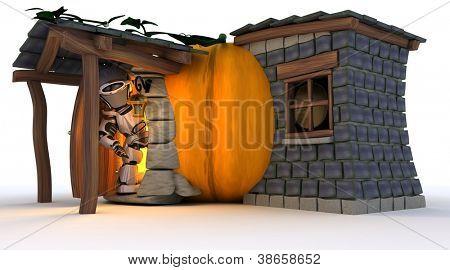 3D Render of robot in Halloween pumpkin cottage