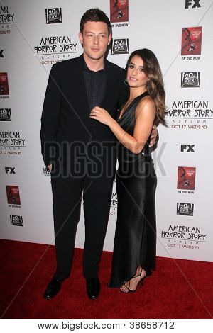 LOS ANGELES - OCT 13:  Cory Monteith, Lea Mkichele arrives at the