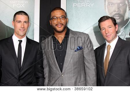 LOS ANGELES - OCT 15:  Michael Fox, Tyler Perry, Edward Burns arrives at the