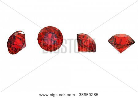 Red round shaped garnet isolated on white background