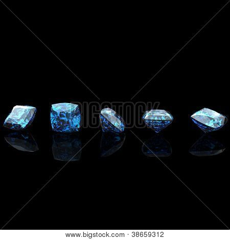 Square shape. Swiss blue topaz. Collections of jewelry gems on black