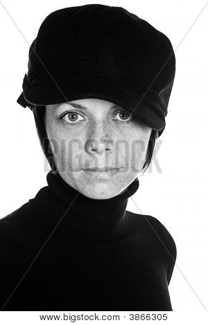 Cute Freckly Brunette With Black Hat
