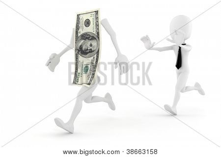 3d man running for succes in business
