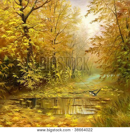beautiful autumn landscape, canvas, oil