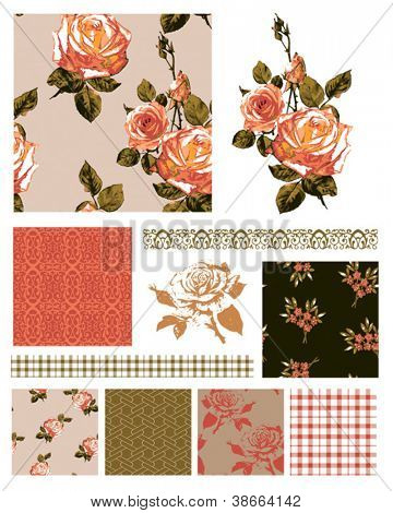 Floral Rose Seamless Patterns and trims.