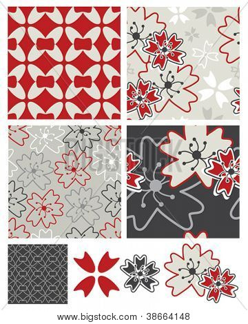 Japanese Inspired Geometric Floral Seamless Patterns and Icons.