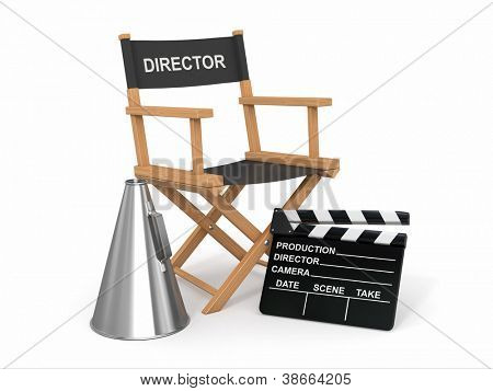 Movie industry. Producer chair, ���±lapperboard and bullhornl. 3d