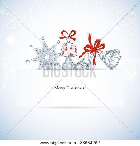 Christmas banner with space for text and cute decorations: bells, fly agaric and stars vector illustration