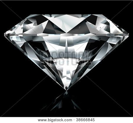 Realistic diamond illustration on black background - raster version