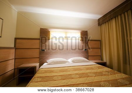 Double bed in the modern room