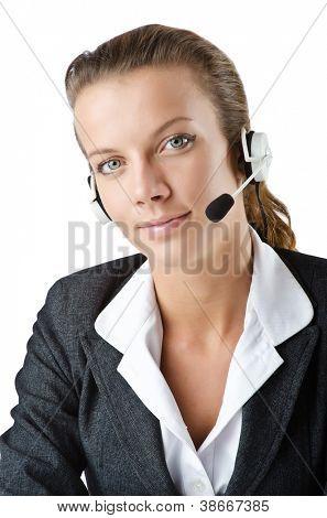 Attractive helpdesk operator on white