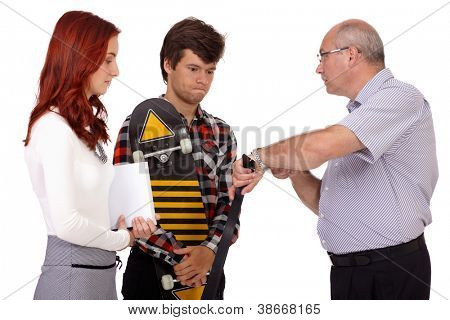 Strict father with belt punishes his young son and daughter showing watch, isolated on white background