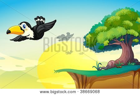 illustration of bird and tree in a beautiful nature