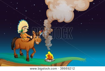 illustration of a man and a horse in a beautiful nature