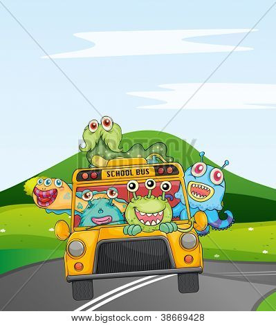illustration of monsters in schoolbus on road
