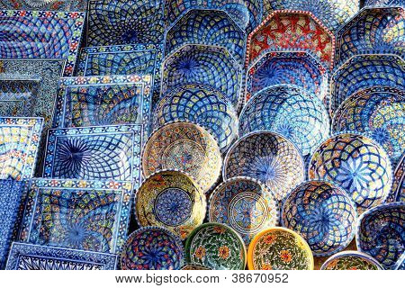multicolor sovenir earthenware in tunisian market, Sidi Bou Said, Tunisia