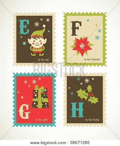 Christmas alphabet with cute xmas icons