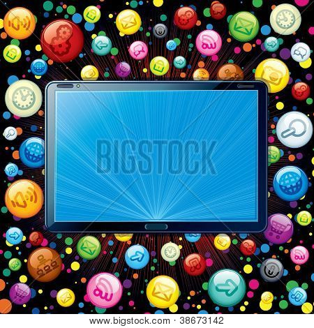Vector Concept. Tablet PC with Media Icons Cloud.
