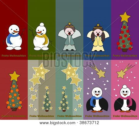 Special Christmas Tags With Angel, Snowman, Pinguin And Christmas Tree