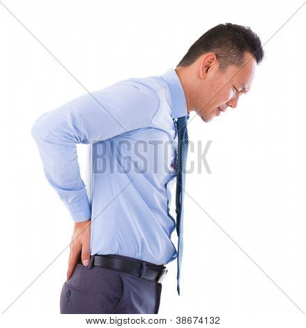 Asian business man suffering for a backache. Isolated on white
