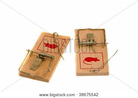 Two Isolated On White Mouse Traps