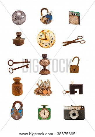 Various Old Objects And Tools Assorted Group  On White