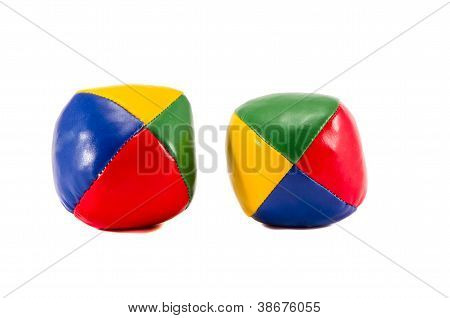 Two Colorful Jugglery Balls Isolated On White