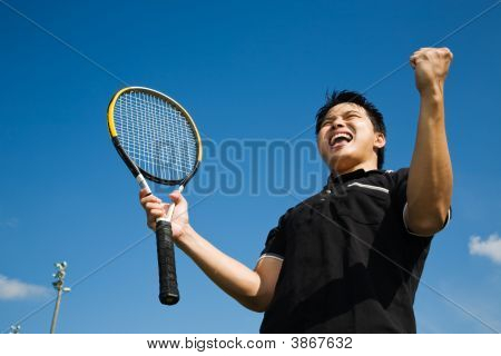 Asian Tennis Player Joy In Victory