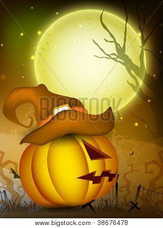 Scary pumpkin wearing witch hat on Halloween moon light night. EPS 10.