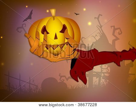 Scary Halloween pumpkin on the zombie hand. Halloween night background EPS 10.