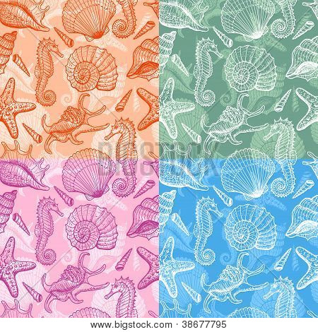 Set of sea hand drawn seamless pattern