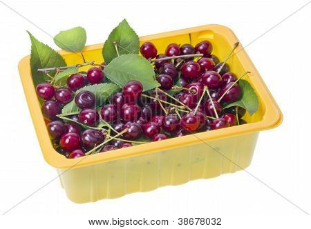 Back Red Cherries In Container