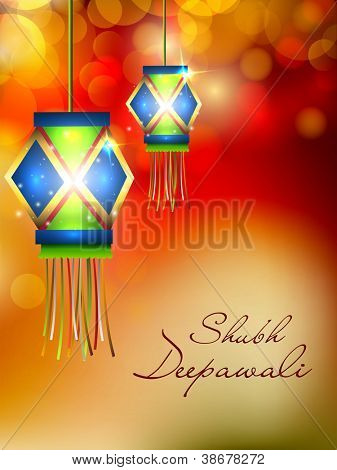 Hanging lamp for Diwali festival in India. EPS 10.
